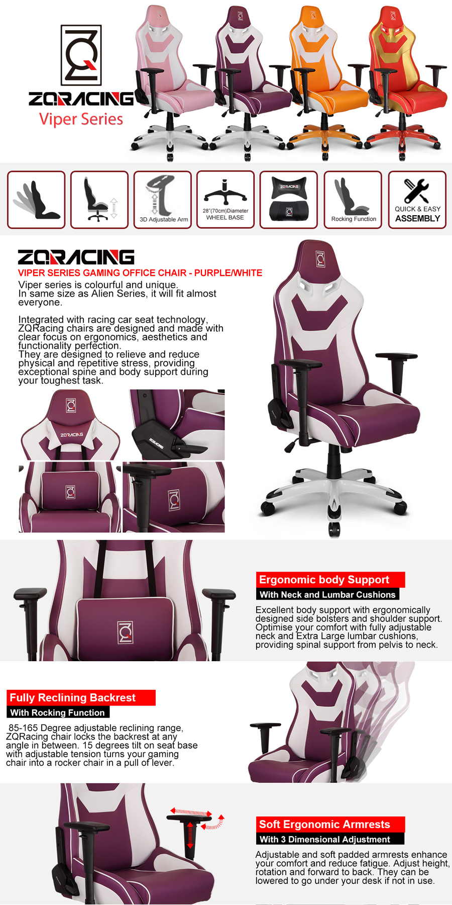 Zqracing Viper Series Gaming Office Chair Purple White